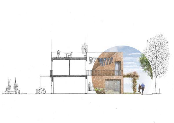 Urban Housing  Glasgow Green Architectural Illustration by David