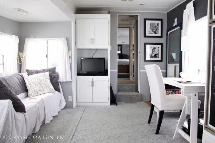 fabulous 5th wheel camper makeover mobil home project pinterest caravane r novation. Black Bedroom Furniture Sets. Home Design Ideas