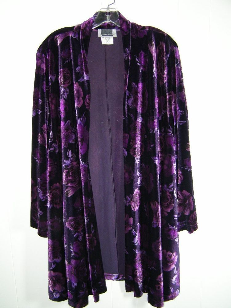 Womens Plus Maggie Barnes 2X Purple Velvet Floral Open Cardigan ...