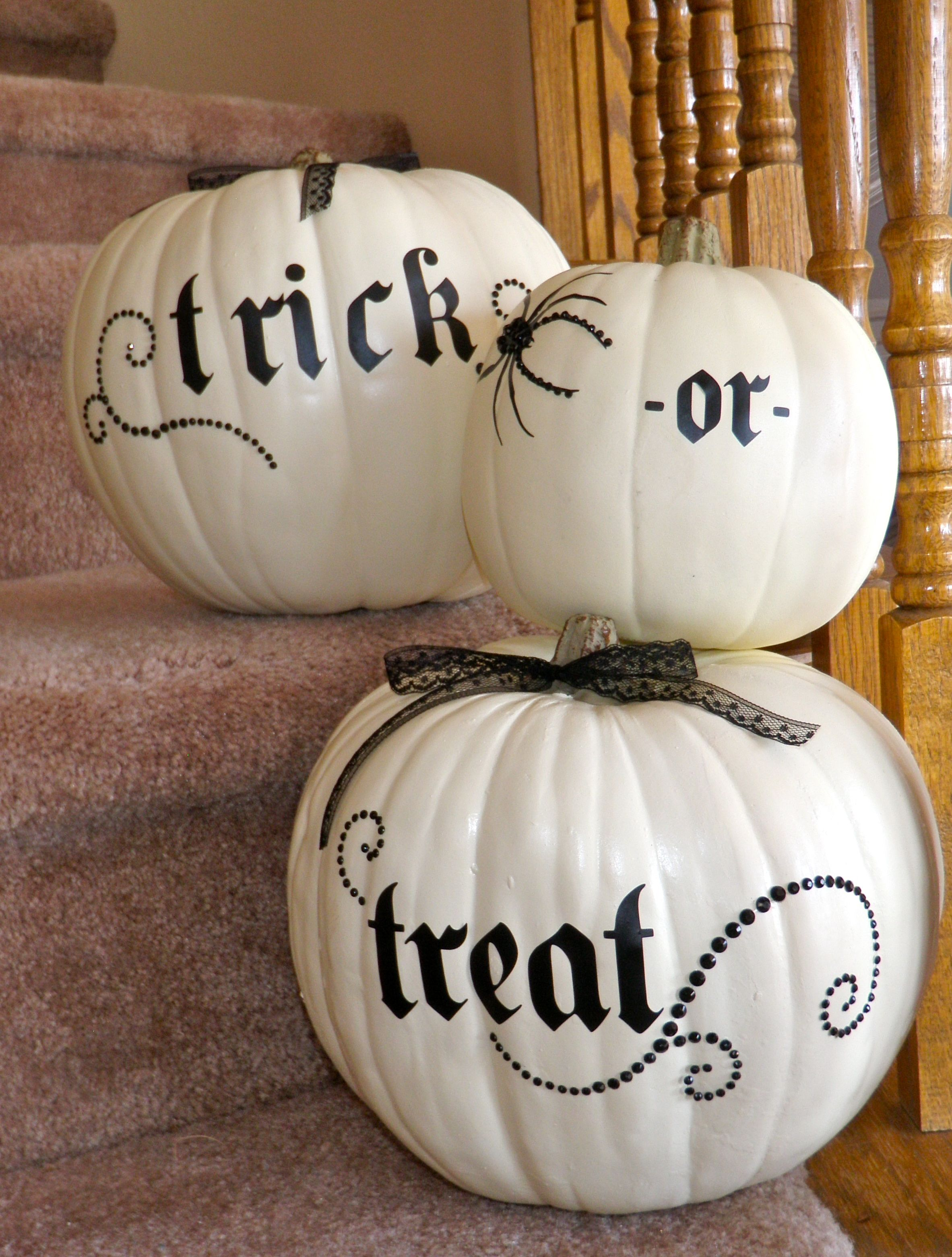 trick or treat , im goin to make these for my front porch this is the most easiest and just so cute .. but remember to spray with a can of clear sealer then you can always use every year but NOTE: on the bottom of pumpkin cut a round hole evenly and remove all insides first then let dry out then spray inside with sealer aswell