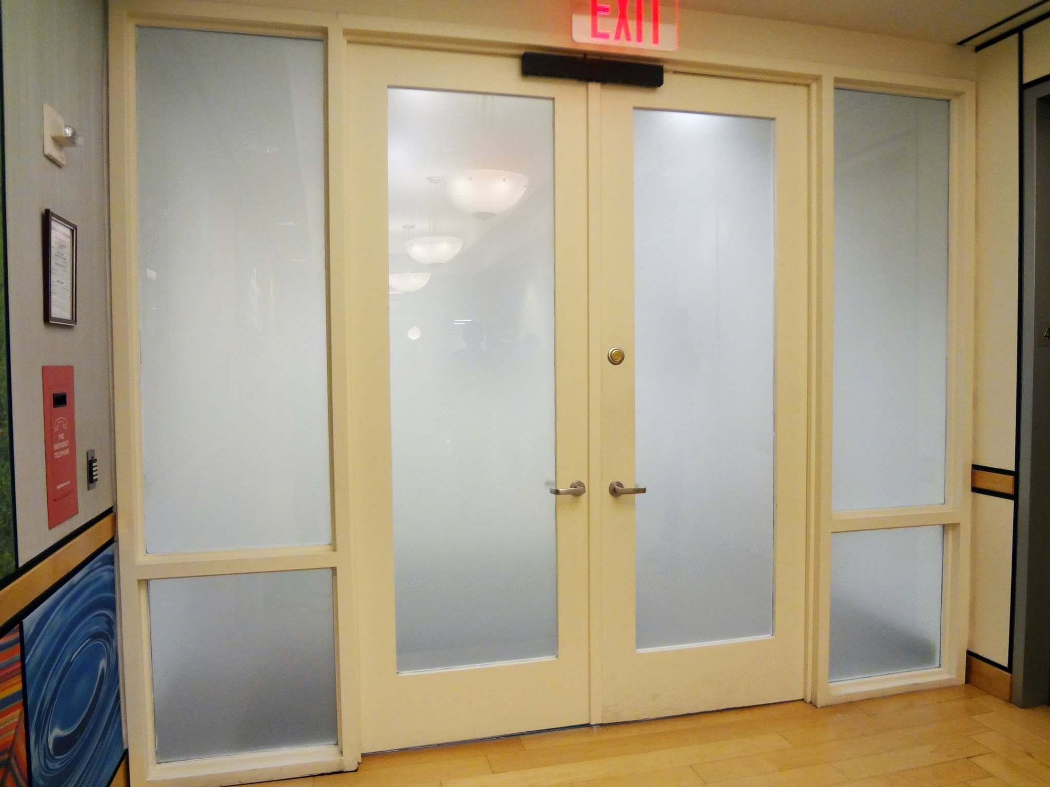 Custom Frosted Film Covering For Glass Door Entryway In Nyc For