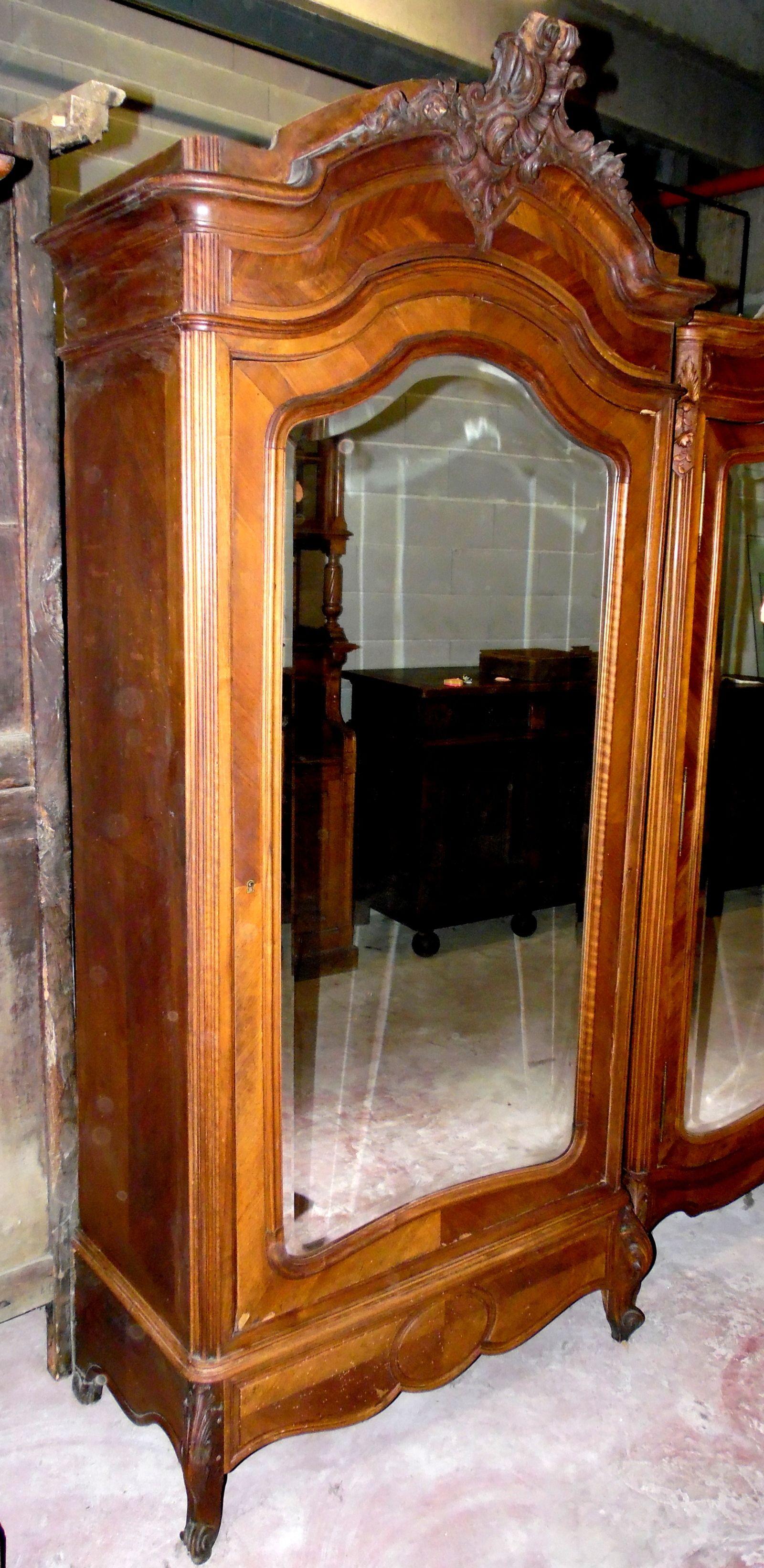 Armadio rocaille in noce \'800 ad un\'anta con specchio (da restaurare ...