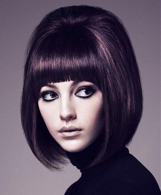 mod hair and bold bangs