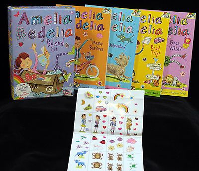 Amelia Bedelia Chapter Books Boxed Set by Herman Parish 4 Book Lot 60 Stickers