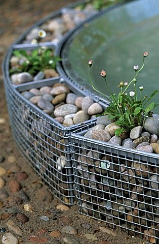baby gabion surrounding water feature? water features Pinterest