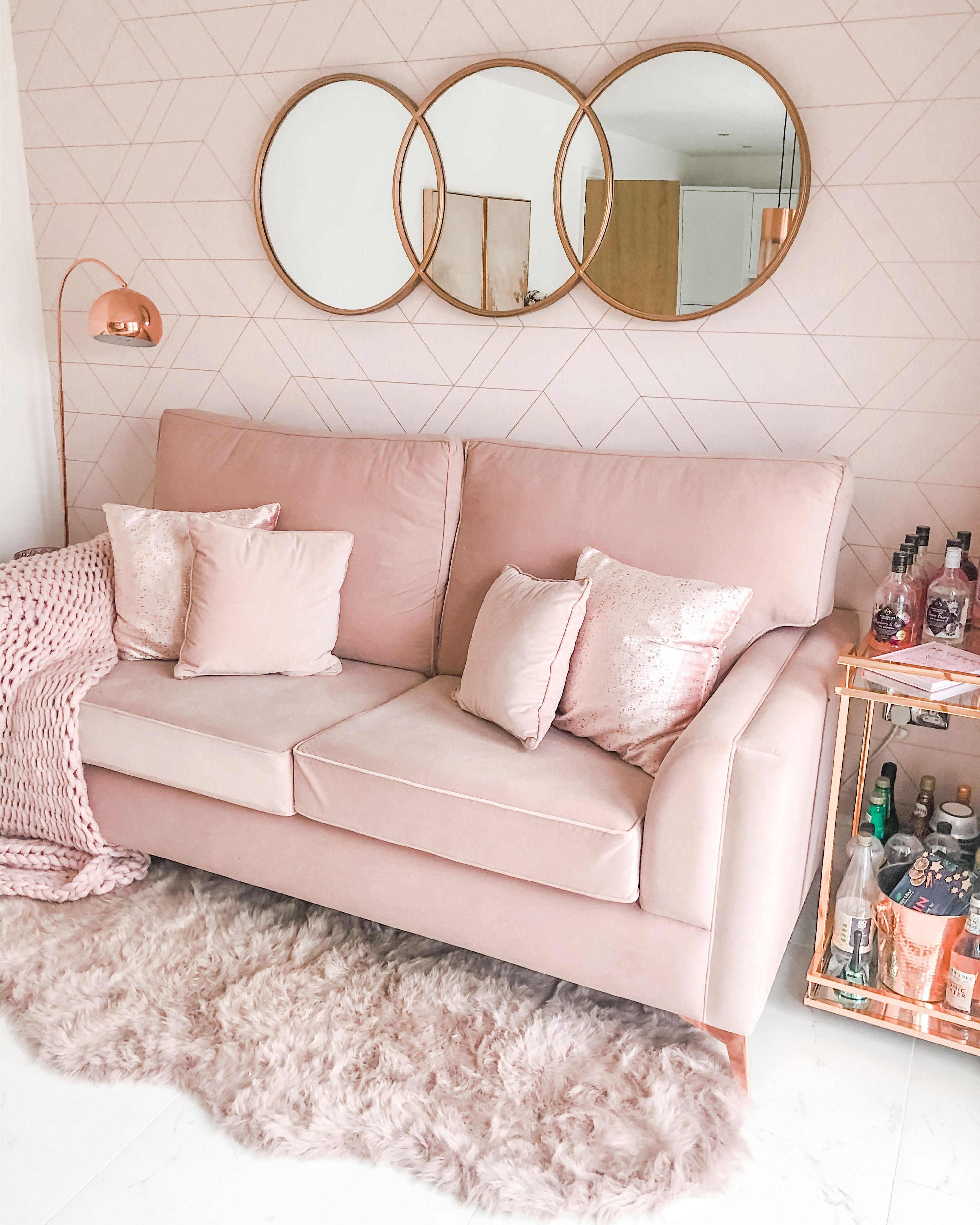 Blush Pink Sofa Blush Pink Living Room Blush Pink Dining Room Blush Pink Decor Blush Pink Home Inspirati In 2020 Gold Sofa Blush Pink Living Room Pink Dining Rooms