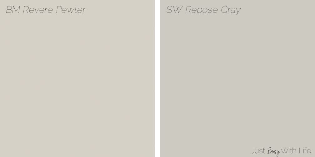 Acrylic Vs Latex Paint >> Revere Pewter vs Repose Gray | Just Busy With Life | paint ideas | Pinterest | Repose gray ...