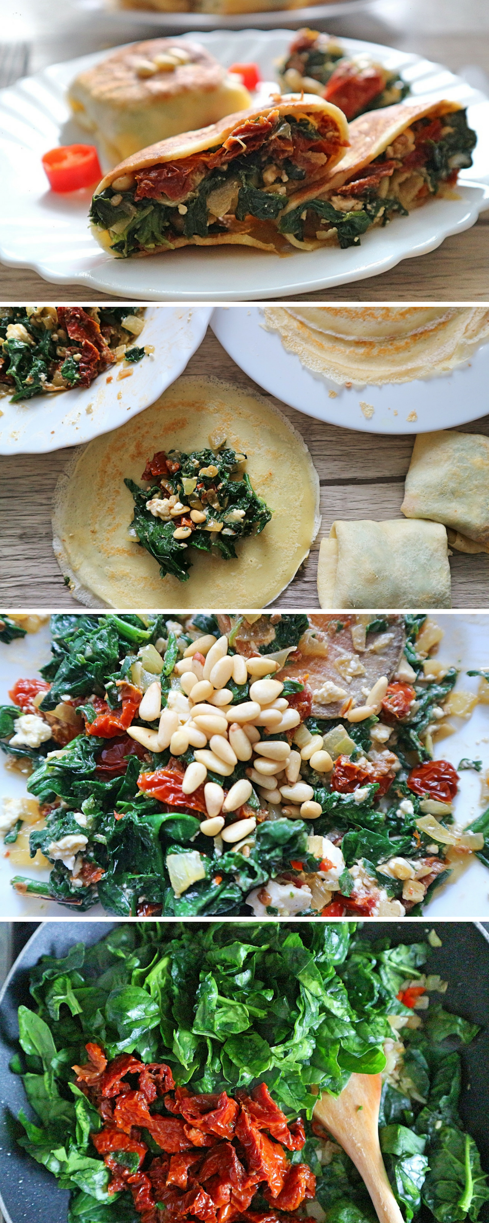 Photo of Hearty pancakes filled with spinach & feta – simple recipe
