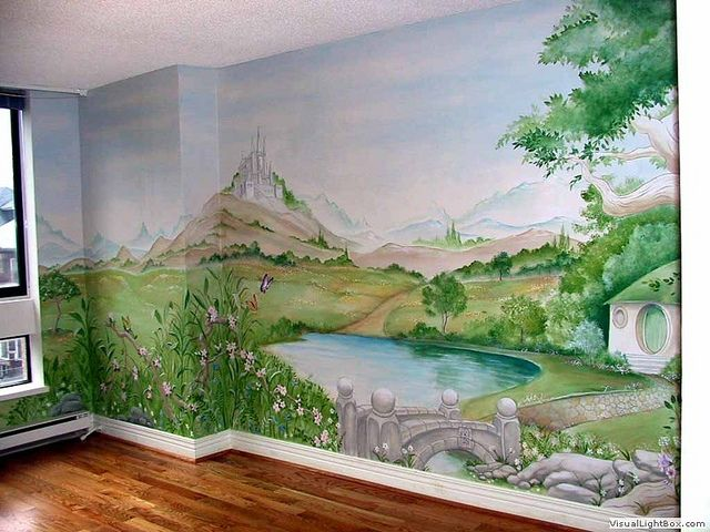 The shire mural in 2019 nursery bedroom murals wall - How to paint murals on bedroom walls ...