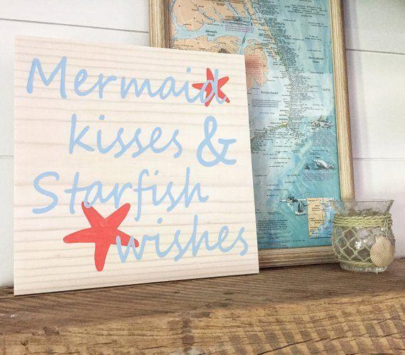 Mermaid Kisses and Starfish Wishes Sign | Mermaid Nursery | Mermaid sign | Beach decor | Mermaid dec #mermaidsign