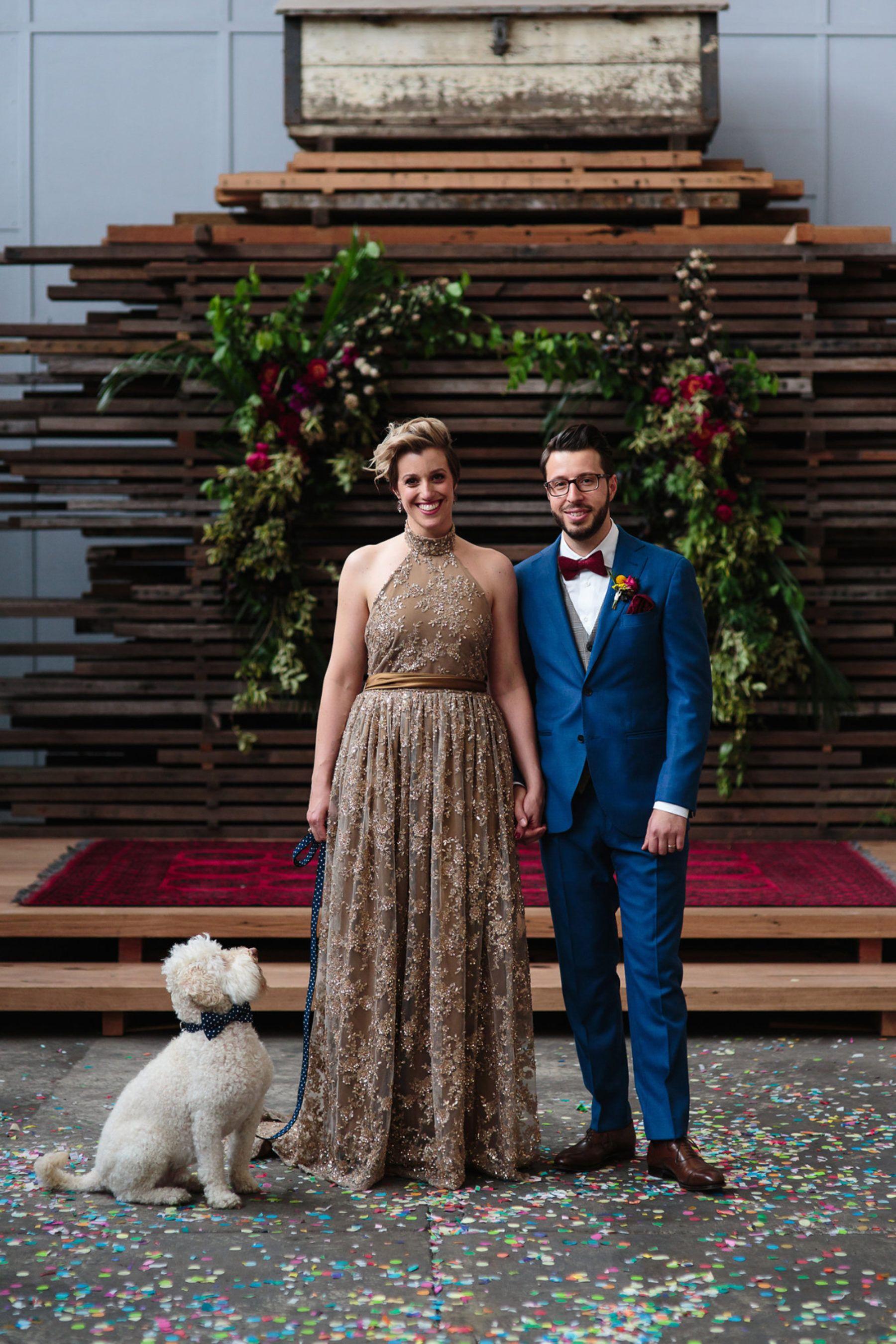 50th wedding anniversary dresses  cool bride in gold wedding dress  Bek u Paul  Pinterest  Gold