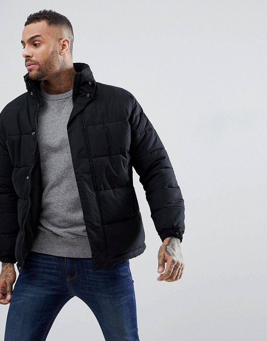 Schott Nebraska Heavy Puffer Jacket Concealed Hood In Black Black Jackets Men Fashion Puffer Jacket Outfit Mens Jackets [ 1110 x 870 Pixel ]