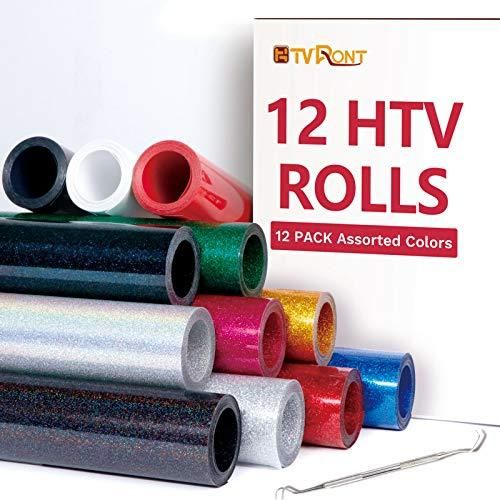 """HTVRONT Glitter HTV Heat Transfer Vinyl Rolls - 10"""" x 8ft Glitter HTV Vinyl for Shirts, Glitter Iron on Vinyl for All Cutter Machine - Easy to Cut & Weed for Heat Vinyl Design ✂ EASY TO CUT & WEED & TRANSFER ✂ The glitter htv is thick with an excellent cutting application characteristics, any cutters' blade can cut it through easily. The medium tack transfer film makes weeding like a dream, the glitter heat transfer vinyl is extremely sensitive to heat and pressure makes transfer qui"""