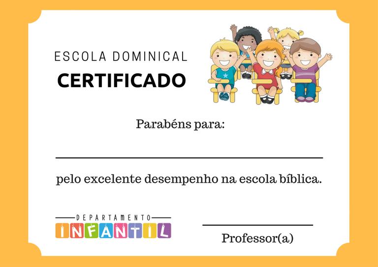 Certificado EBD Infantil Diplomas prontos para imprimir