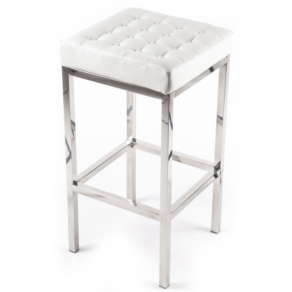 Florence Tufted Leatherette And Chrome Stool Overstock