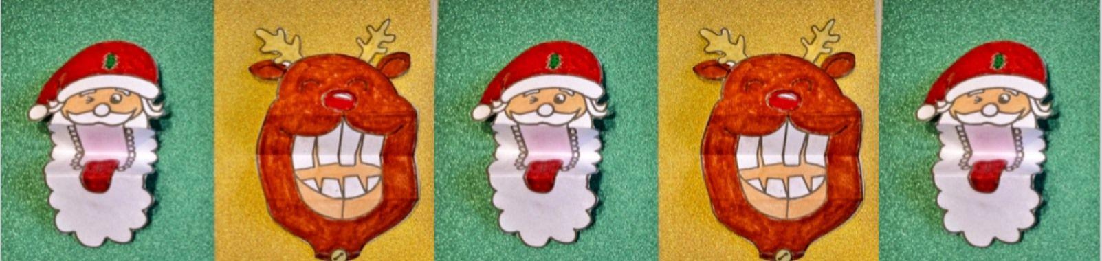 Weihnachtsmann und Rudolf das Rentier bastelt mit einem beweglichen Mund inkl. gratis Vorlagen  #rendierknutselen