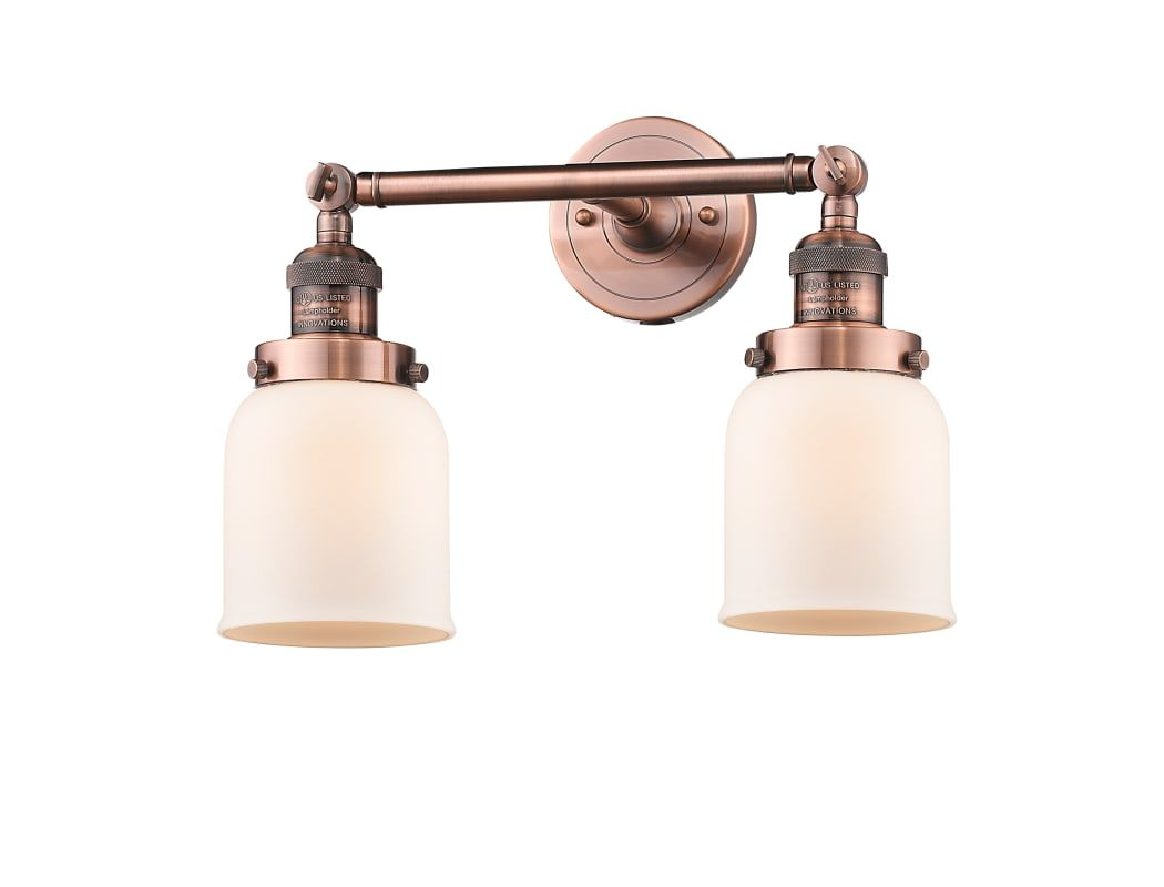 Photo of Innovations Lighting 208-AC-G51 Antique Copper / Matte White Cased Small Bell 2 Light 15″ Wide Bathroom Vanity Light with Multiple Shade Options