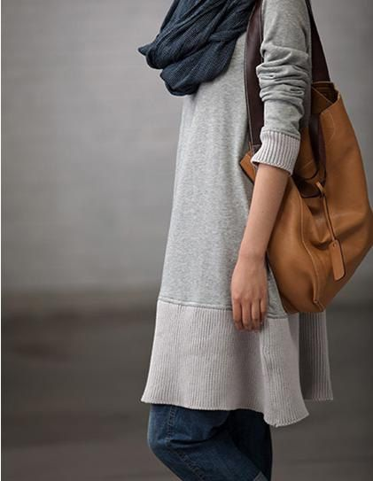 Gray  Loose Fitting Casual Long Sleeve Cotton by clothingshow. (The sleeves should be longer.)