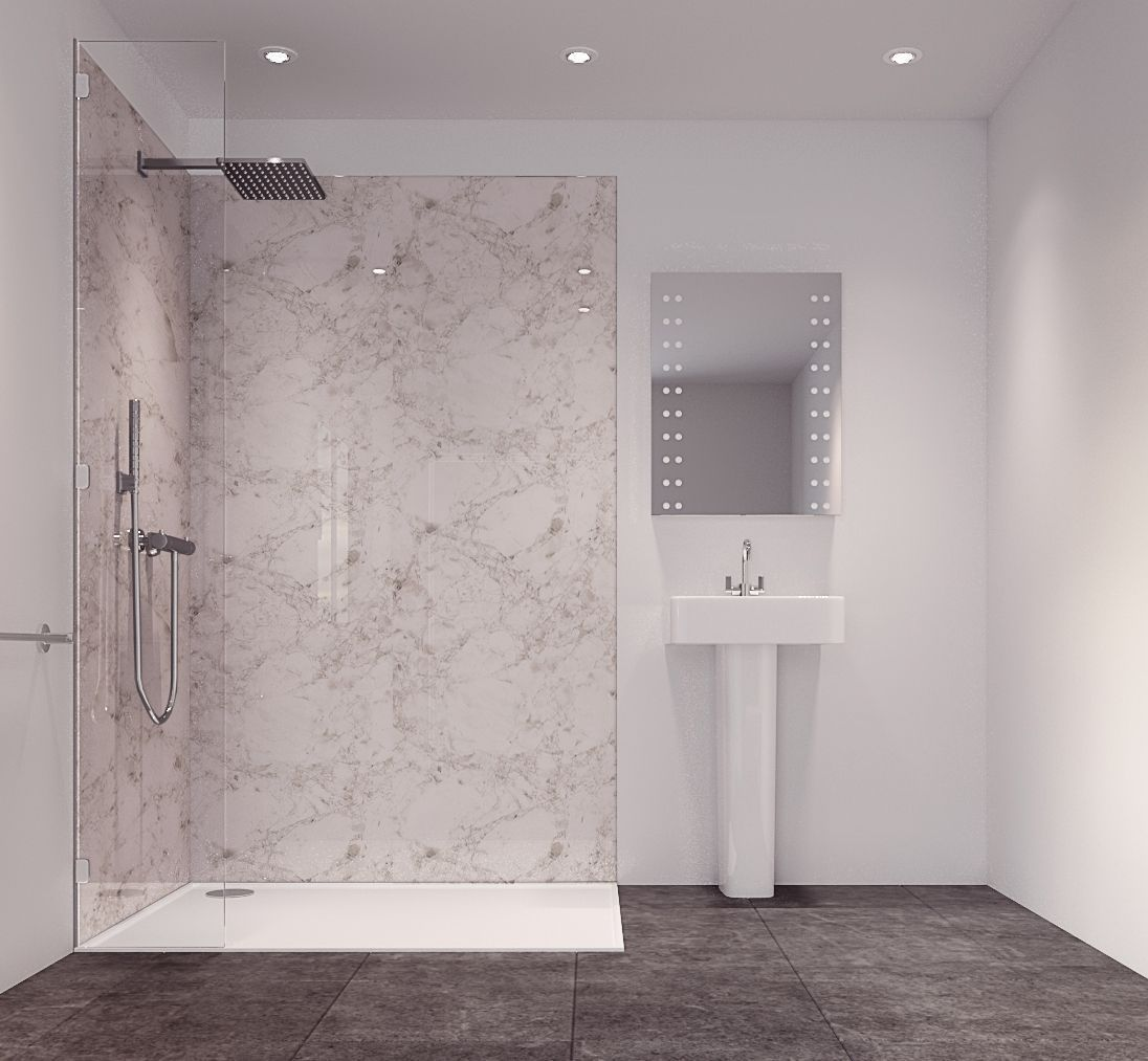 Splashwall Tuscan White Single Shower Panel (L)2420mm (W)585mm (T ...
