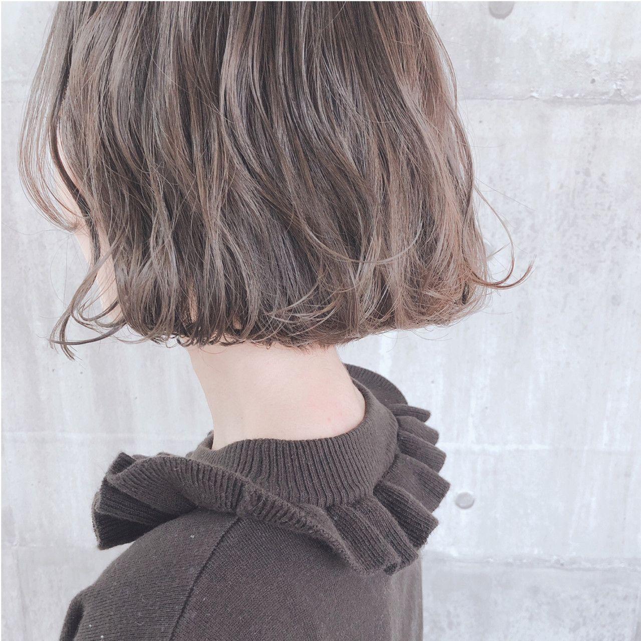大人かわいい アッシュベージュ ボブ グレージュ ヘアスタイルや髪型の写真 画像 ヘアスタイル ロング ボブ ヘアスタイリング