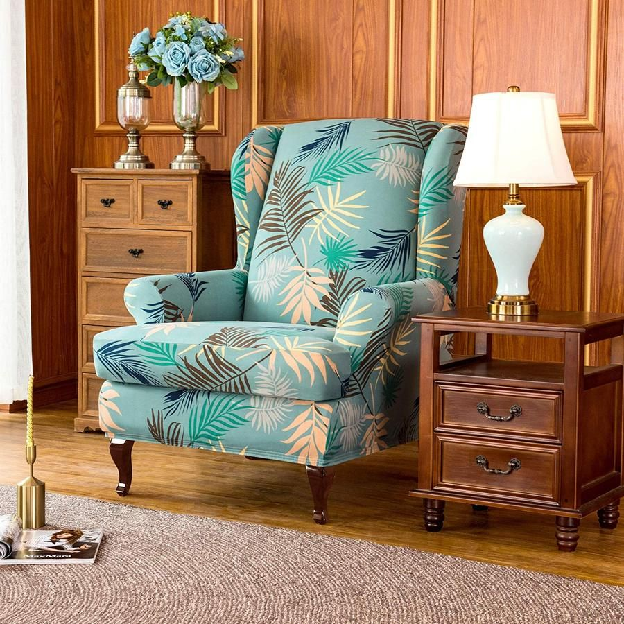 2Piece Leaves Printed Stretchable Wing Back Chair
