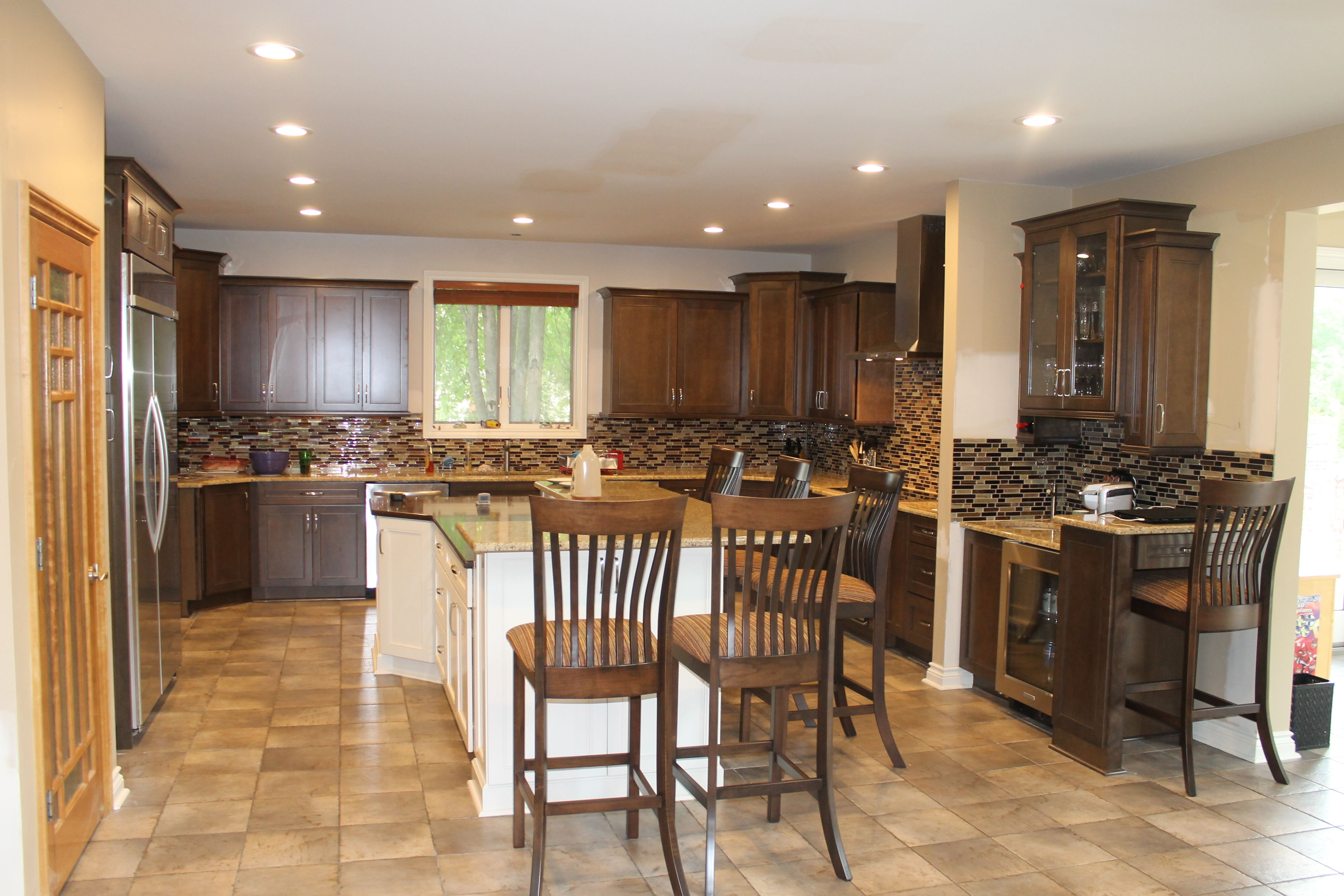 Medium Maple Cabinets with light Granite countertops and ... on Maple Kitchen Cabinets With Black Granite Countertops  id=35665
