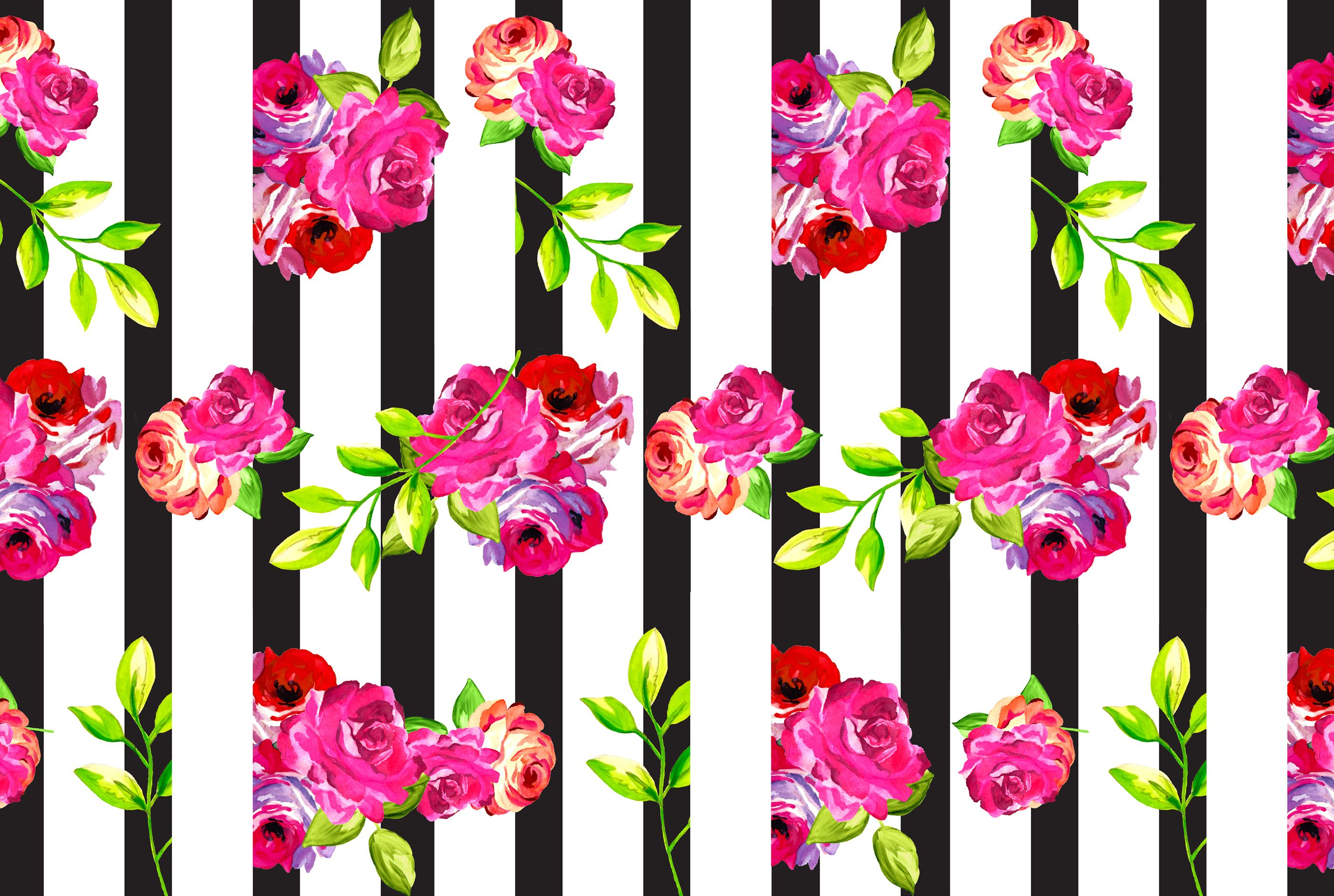 February Floral And Stripes Phone + Desktop Background
