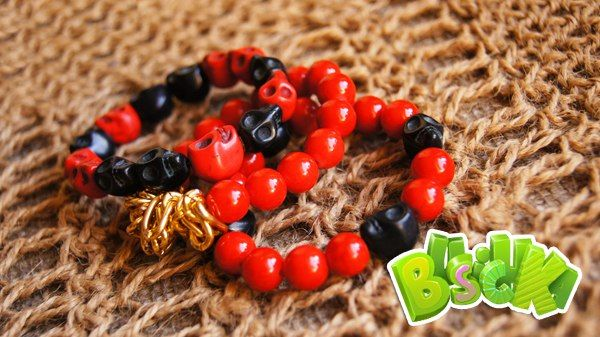 """Connect three bracelets and obtain a set of natural stones  """"Red & Black"""""""