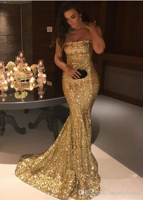 Gorgeous Strapless Sequin Mermaid Evening Dresses 2018