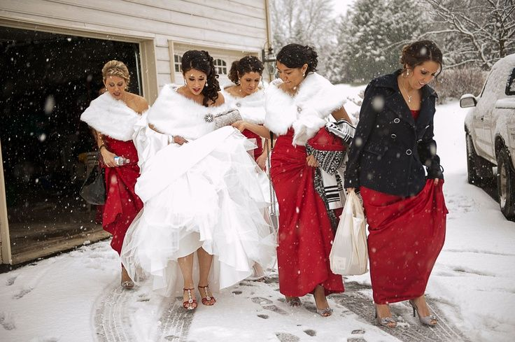 Red Bridesmaids Dresses For Winter Wedding