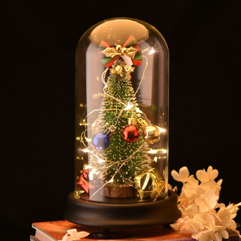 Christmas Tree Decorations With Led Light Music Box In Glass Dome