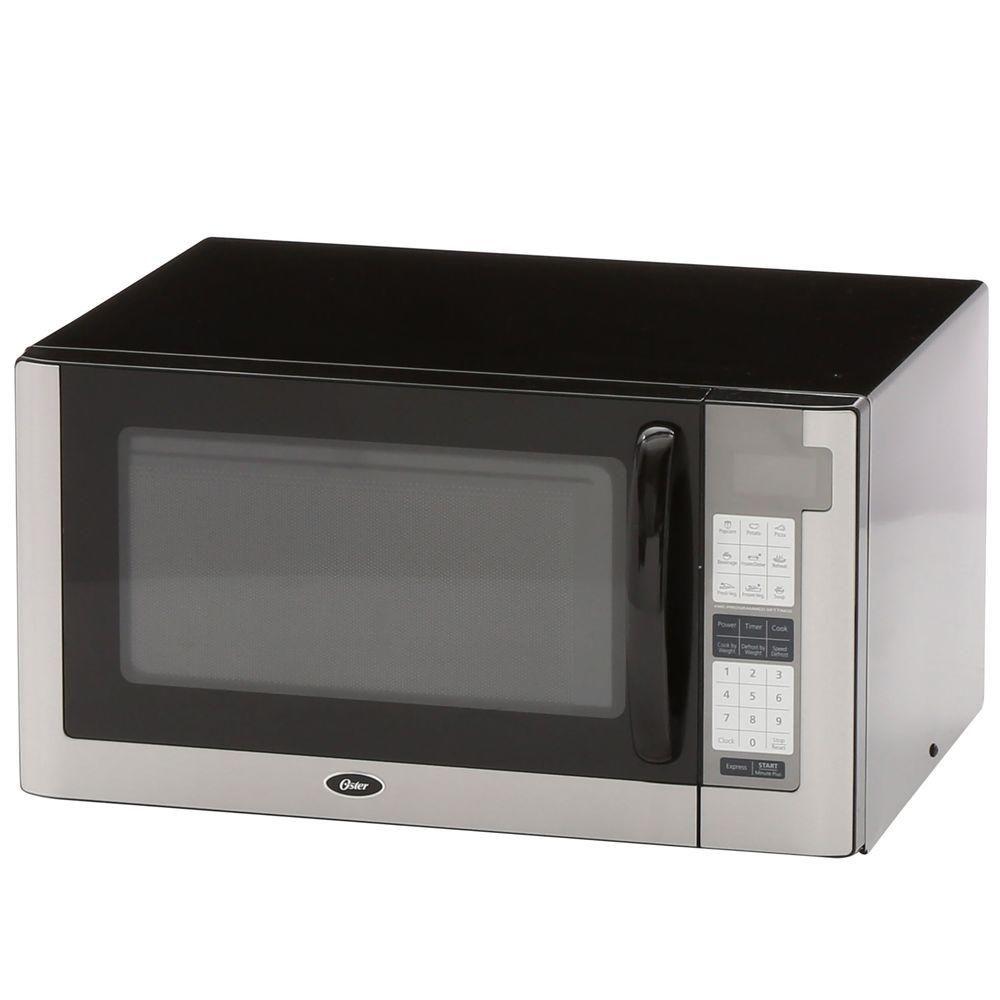 Oster 1 4 Cu Ft 1200 Watt Countertop Microwave In Black Silver Black Products Countertop Microwave Oven Countertops Oster Microwave
