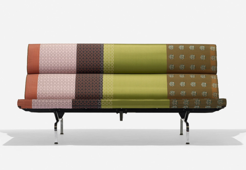 Richly varied post-modern upholstery on a classic Eames ...