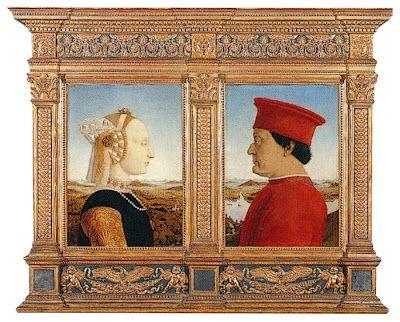 Double Portrait (1474) of the Duke of Urbino and his Duchess, Battista Sforza by Piero della Francesca.