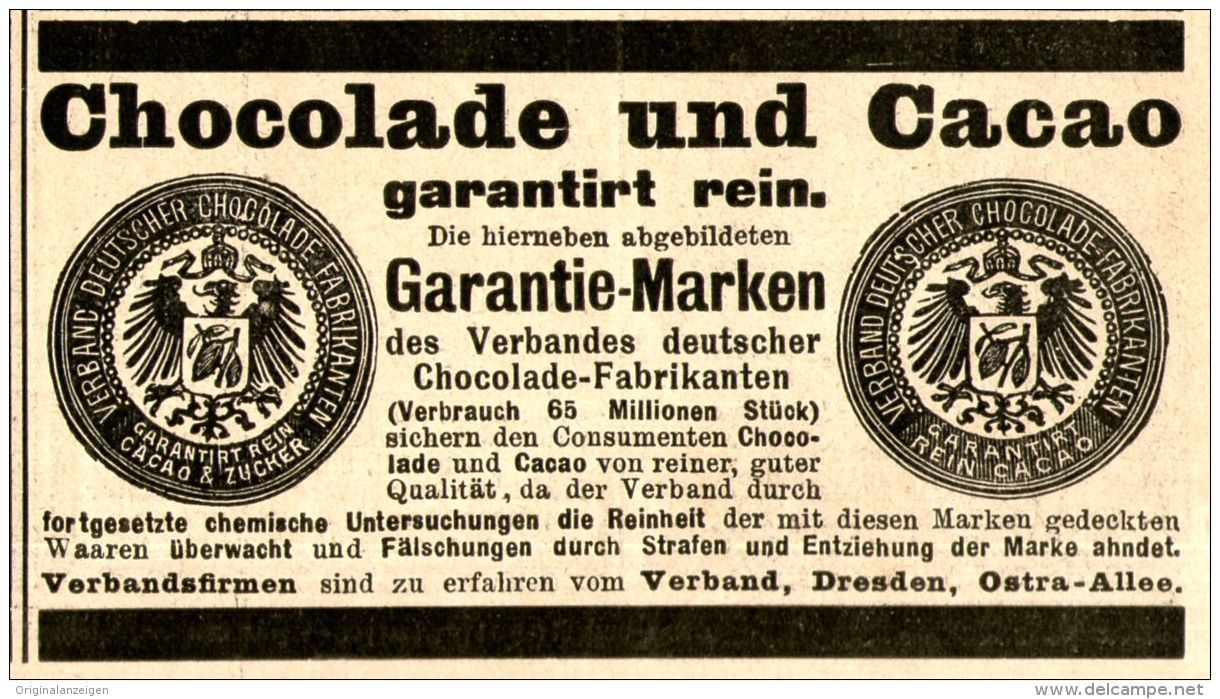Original-Werbung/ Anzeige 1897 - VERBAND DEUTSCHER CHOCOLADE FABRIKANTEN - ca. 100 x 50 mm
