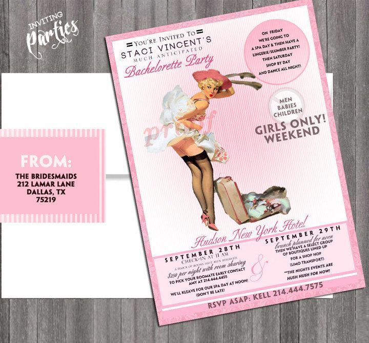 Vintage Pin Up Girl Invitation- Bachelorette weekend, Hens night ...