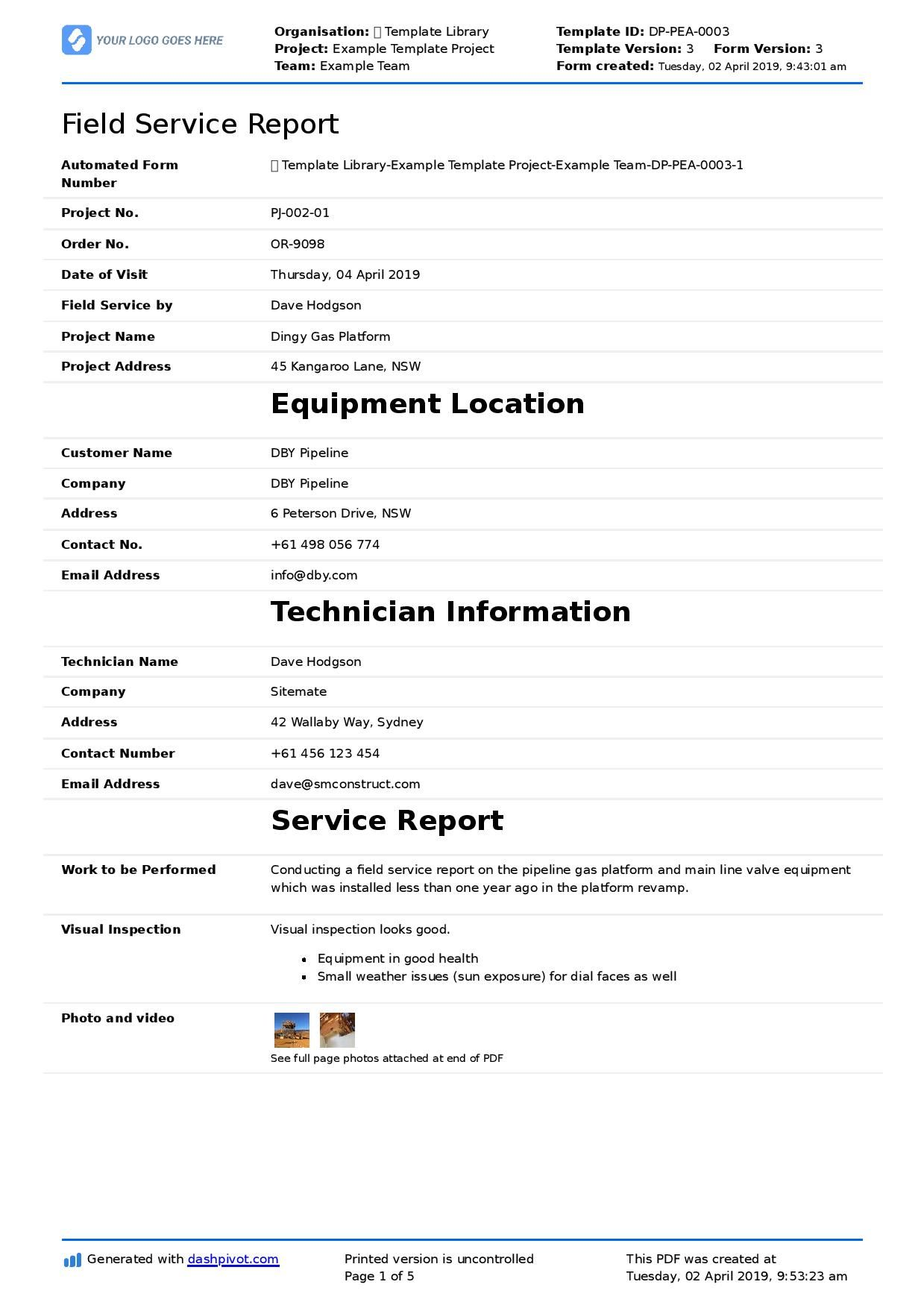 Field Service Report Template Better Format Than Word Within Word