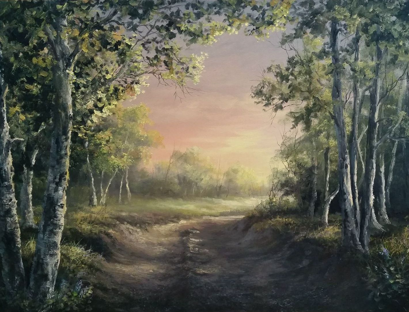 Birch Forest At Sunset Oil Painting By Kevin Hill Watch Short Oil Painting Lessons On Youtube K Landscape Paintings Kevin Hill Paintings Bob Ross Paintings