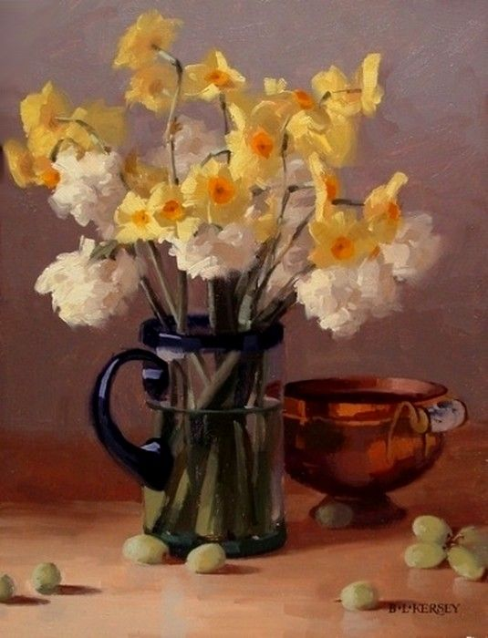 laurie kersey b narcissus x still life th oil painting by artist laurie kersey narcissus
