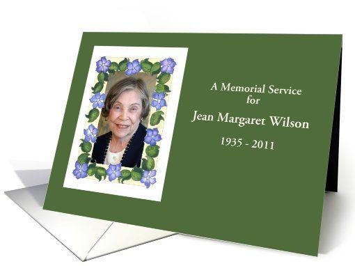 Memorial Service or Funeral Invitation Photo Card Photo cards - funeral invitation cards