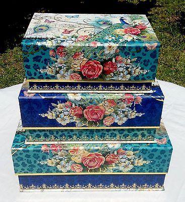 Peacock Keepsake Nested Decorative Storage Boxes Floral Gold Foil Flip Top  3 New