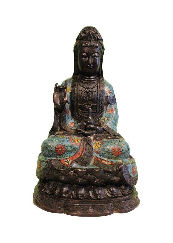 Guan Yin Statue mit Cloisonne Verzierung