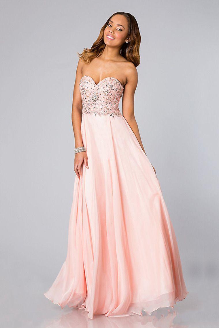 Beautiful pearl pink floorlength sweetheart chiffon zipper aline
