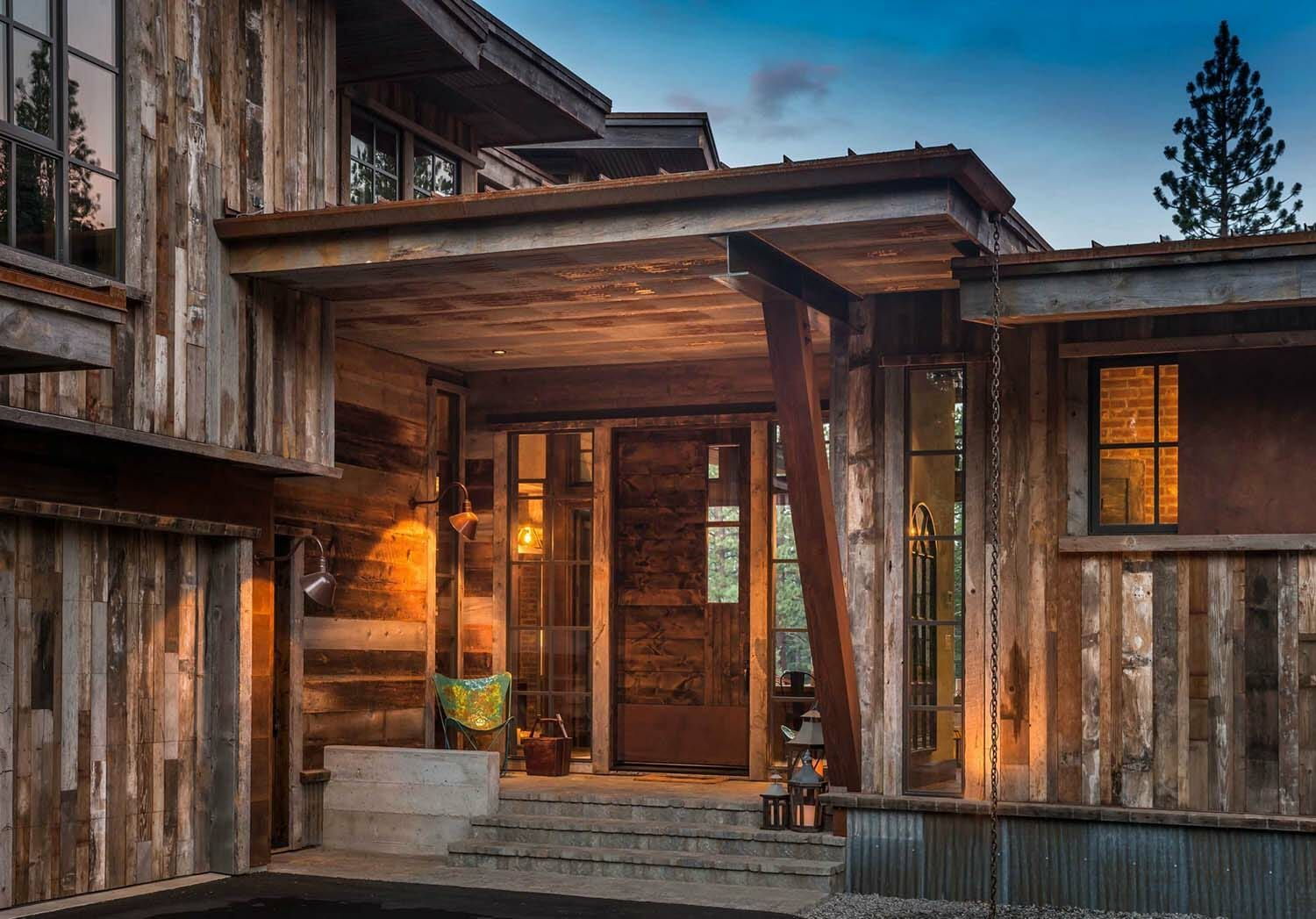 Gorgeous rustic wooded retreat with indoor-outdoor living ...
