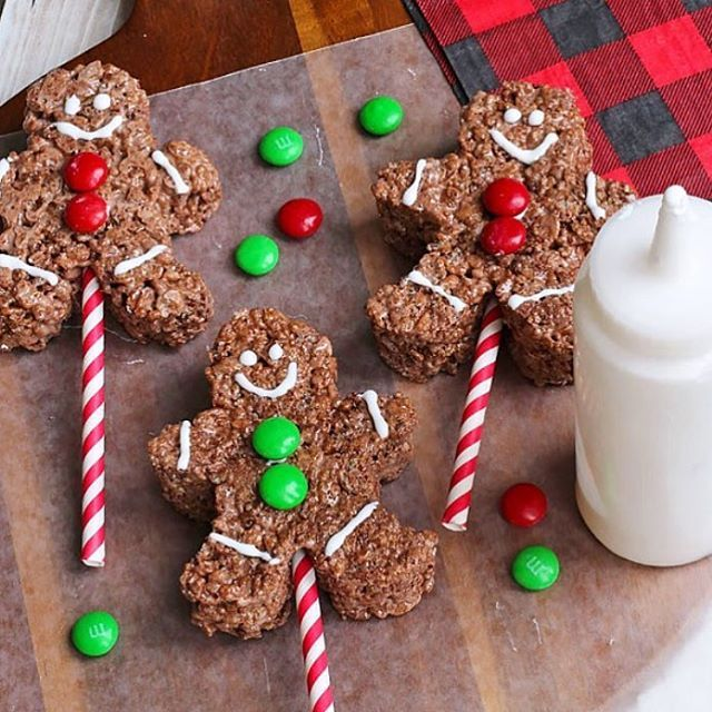 These cute chocolate gingerbread men Rice Krispie treats ...