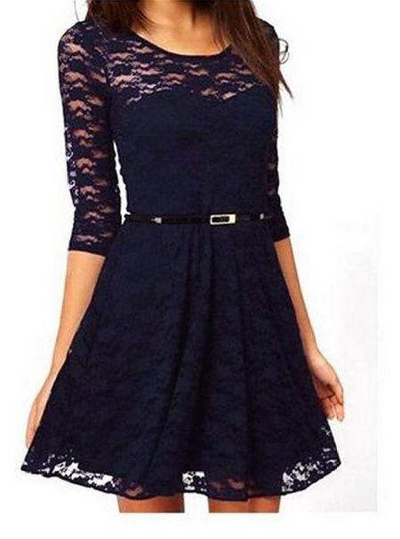 awesome Women's Spoon Neck 34 Sleeve Lace Skater Dress with Belt Check more at http://shipperscentral.com/wp/product/womens-spoon-neck-34-sleeve-lace-skater-dress-with-belt/
