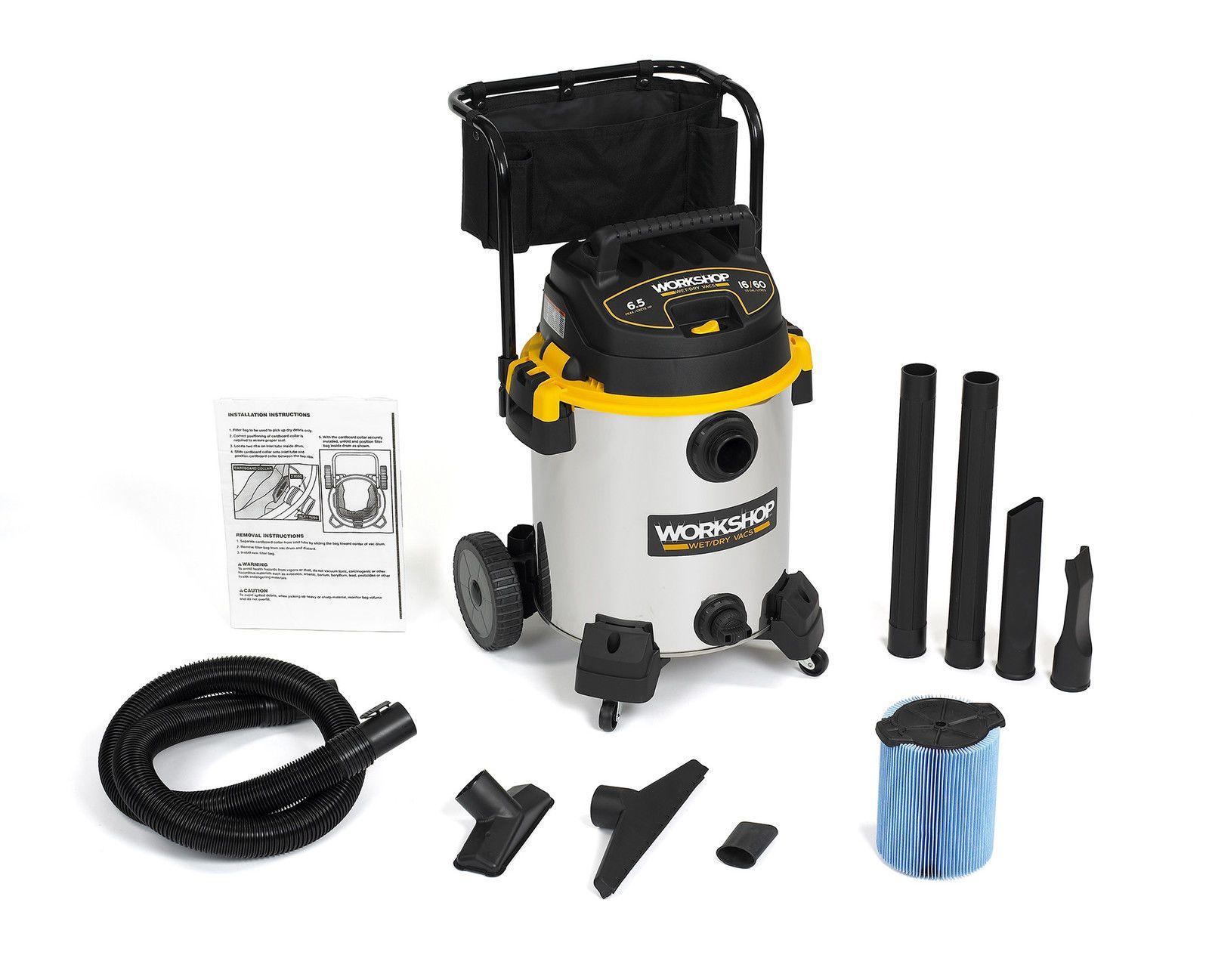 Details About Workshop Wet Dry Vacs Ws1600ss Stainless Steel 16 Gallon 6 5 Peak Hp Shop Vacuum Wet Dry Vacuum Cleaner Best Vacuum Hose Storage