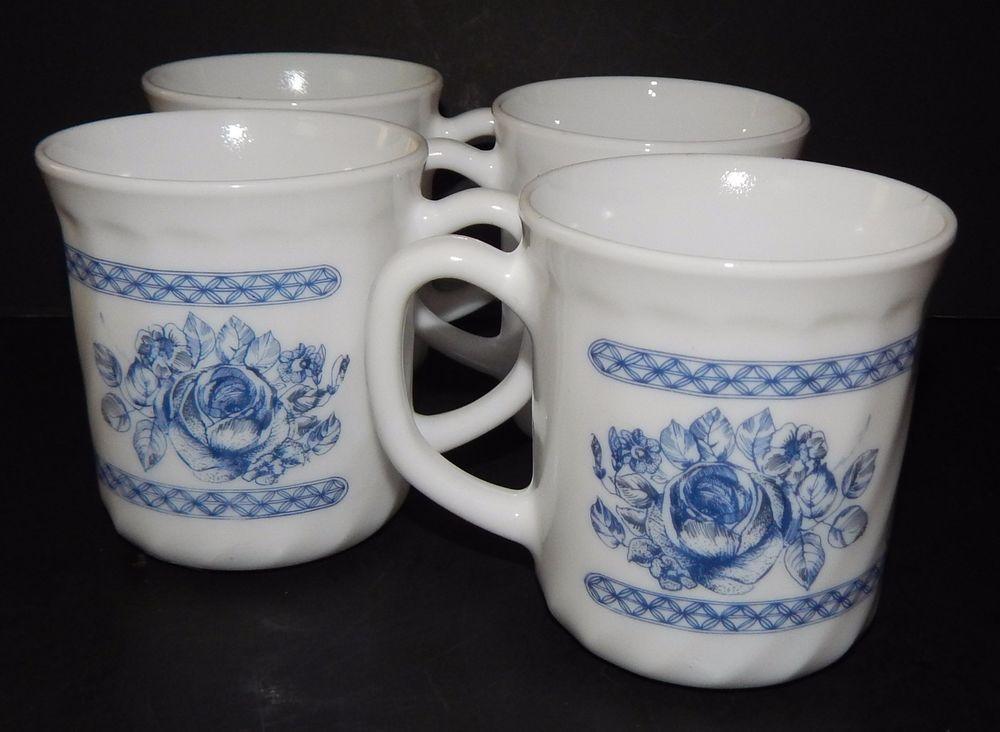 Arcopal France Honorine Coffee/Tea Mugs Set of 4 White with Blue Roses #Arcopal