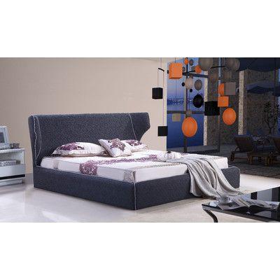 J&M Furniture Upholstered Platform Bed Size: Queen, Upholstery: Grey
