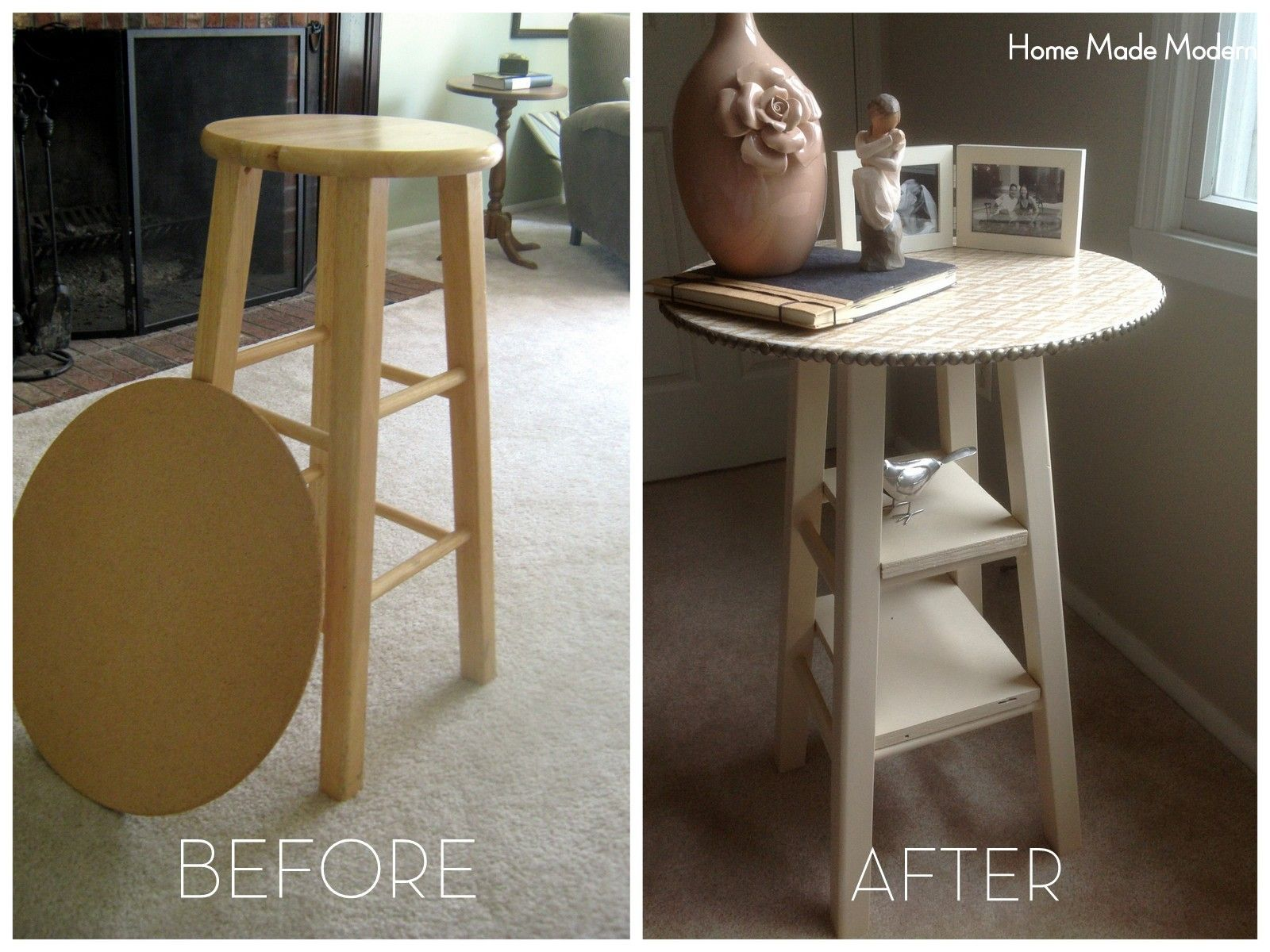 DIY Nightstand from bar stool design Pinterest